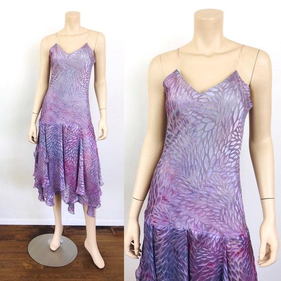 Vintage 1990s BURN OUT Silk Tie Dye Effect Bias Cu