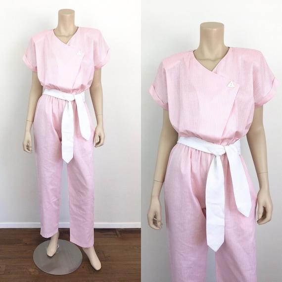 Vintage 1980s Baby PINK & WHITE STRIPE Cotton Jump