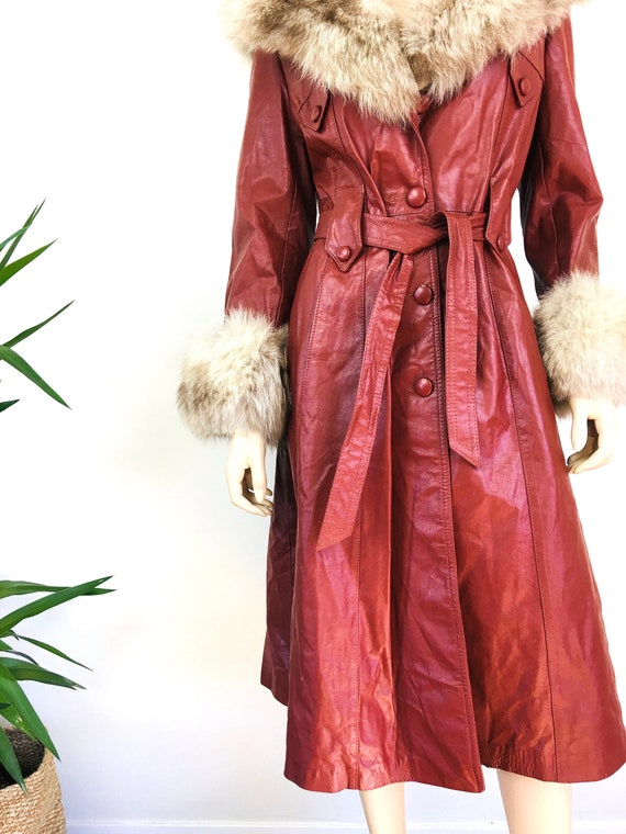 Vintage 1970s LEATHER & FOX FUR Trench Coat - image 3