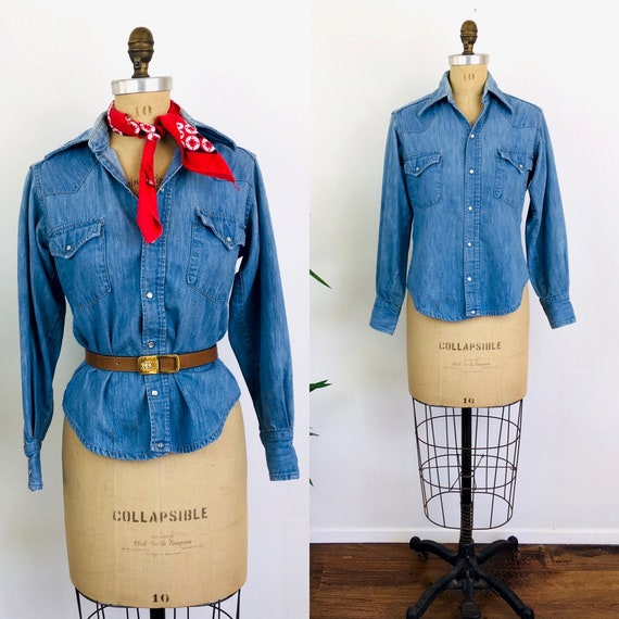 Vintage 1970s PEARL SNAP DENIM Sears Western Wear
