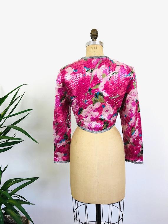 Vintage 1980s SEQUIN PINK Silk FLORAL Cropped Bol… - image 6