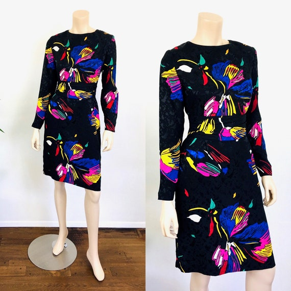 Vintage 1980s ABSTRACT FLORAL Print SILK Dress