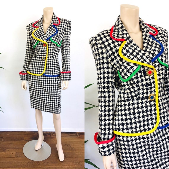 Vintage 1990s HOUNDSTOOTH Primary Color Trim POWER