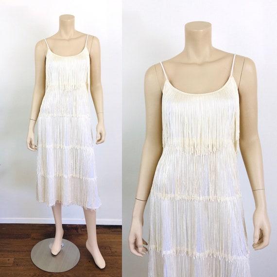 Vintage 1980s WHITE Tiered FRINGE Dress