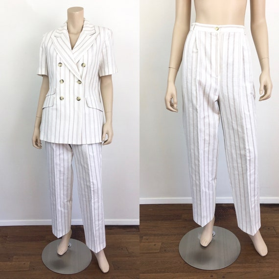 Vintage 1980s DOUBLE BREASTED White & Tan LINEN S… - image 1