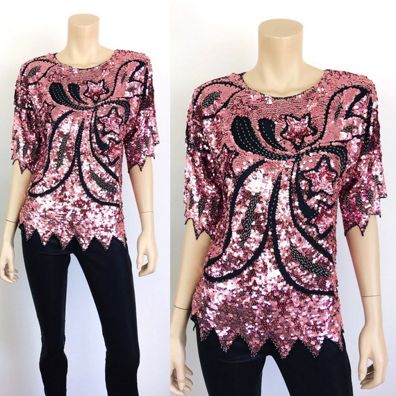 Vintage 1980s PINK METALLIC Star & Bow SEQUINED Be