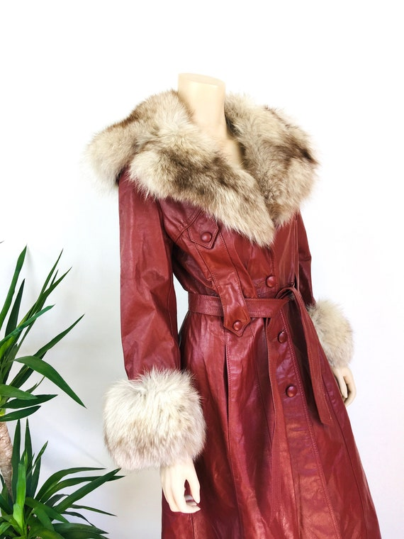 Vintage 1970s LEATHER & FOX FUR Trench Coat - image 4