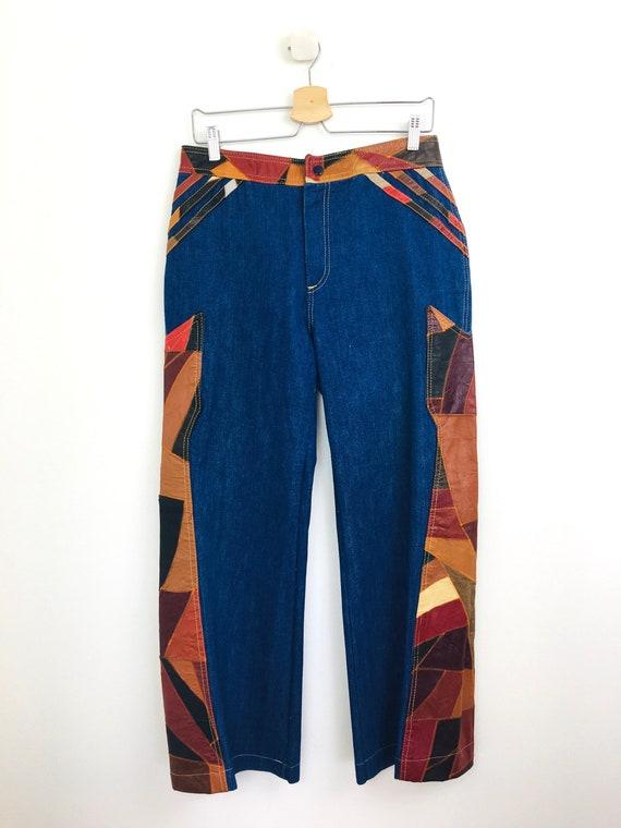Vintage 1970s PATCHWORK LEATHER & DENIM Jeans