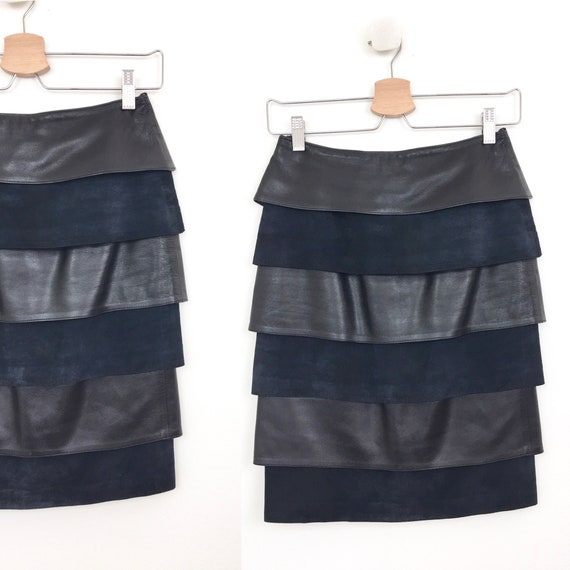 Vintage 1980s TIERED BLACK LEATHER & Suede Mini Sk