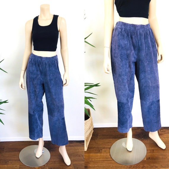 Vintage 1980s SUEDE Slouchy Fit LEATHER Pants