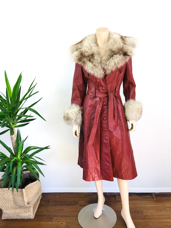 Vintage 1970s LEATHER & FOX FUR Trench Coat - image 2