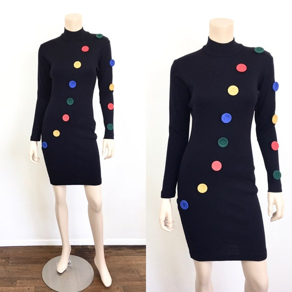 Vintage 1980s COLORFUL BUTTON Black BODY Con Wool