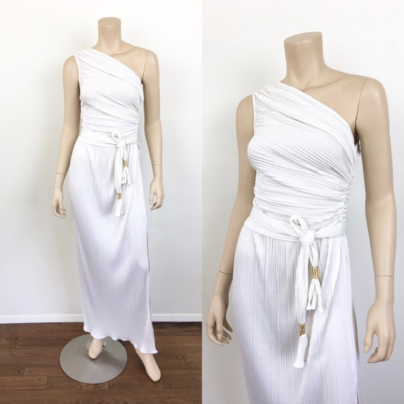 Vintage 1980s GRECIAN GODDESS White PLEATED One Sh