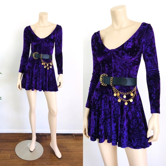 Vintage 1990s CRUSHED VELVET Bra Top Dress