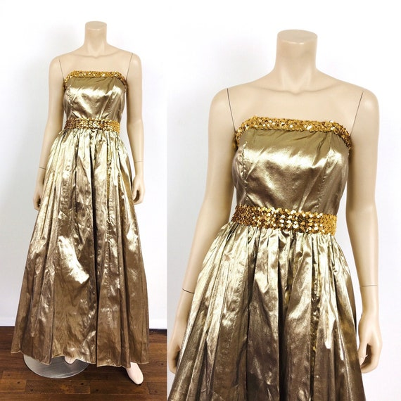 Vintage 1980s GOLD METALLIC Strapless BUSTIER Top