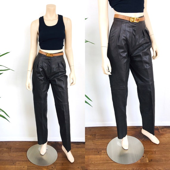 Vintage 1980s LEATHER TROUSERS Dark Chocolate Brow