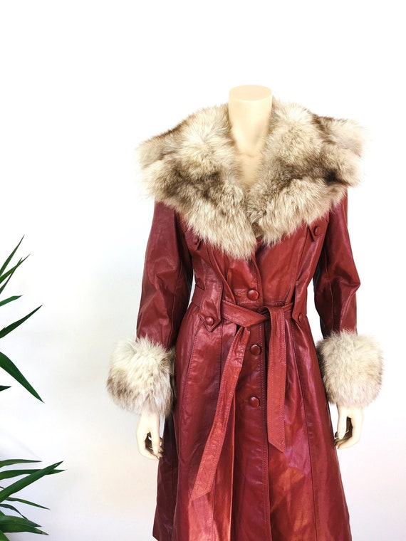 Vintage 1970s LEATHER & FOX FUR Trench Coat