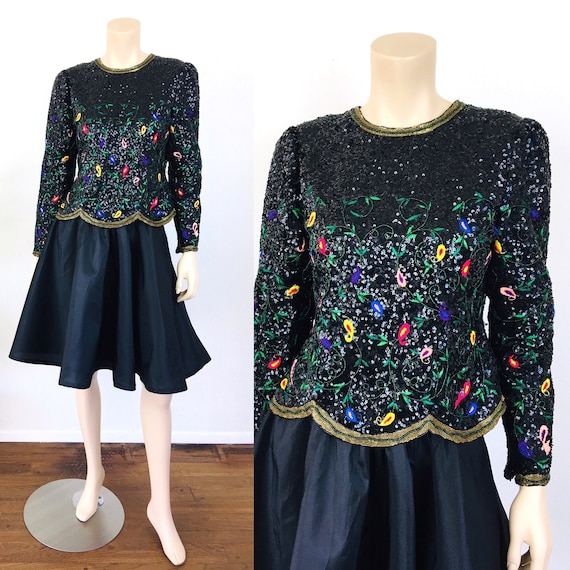 Vintage 1980s BEADED PAISLEY EMBROIDERED Richilene