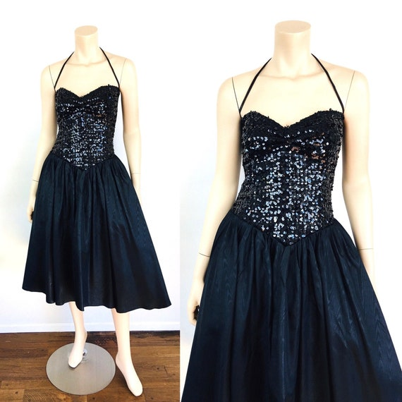 Vintage 1980s STRAPLESS SEQUIN Bustier Party PROM