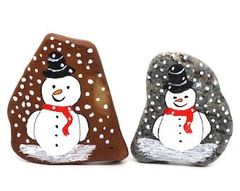 Painted Pebble || Snowman