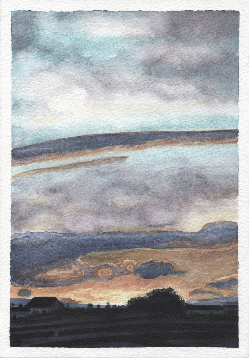 Greenfields view. Watercolor art print image 0