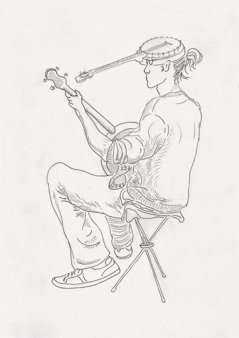 Banjo John. Watercolor art print. image 0