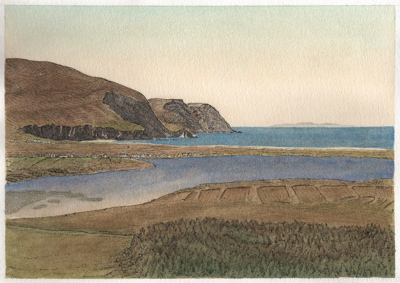 Achill bay Achill Island County Mayo Ireland. Watercolor image 0