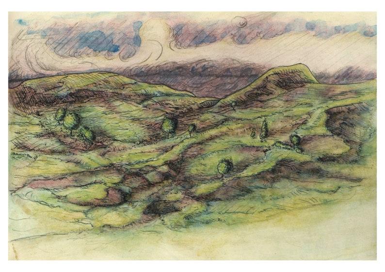 Imaginary landscape. Watercolor art print. image 0