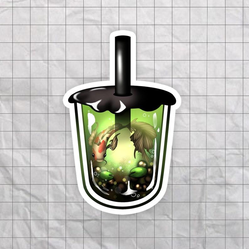 Glossy Waterproof Vinyl Stickers Laptop Sticker Decal Serene Green Tea Boba Sticker Bubble Tea Sticker