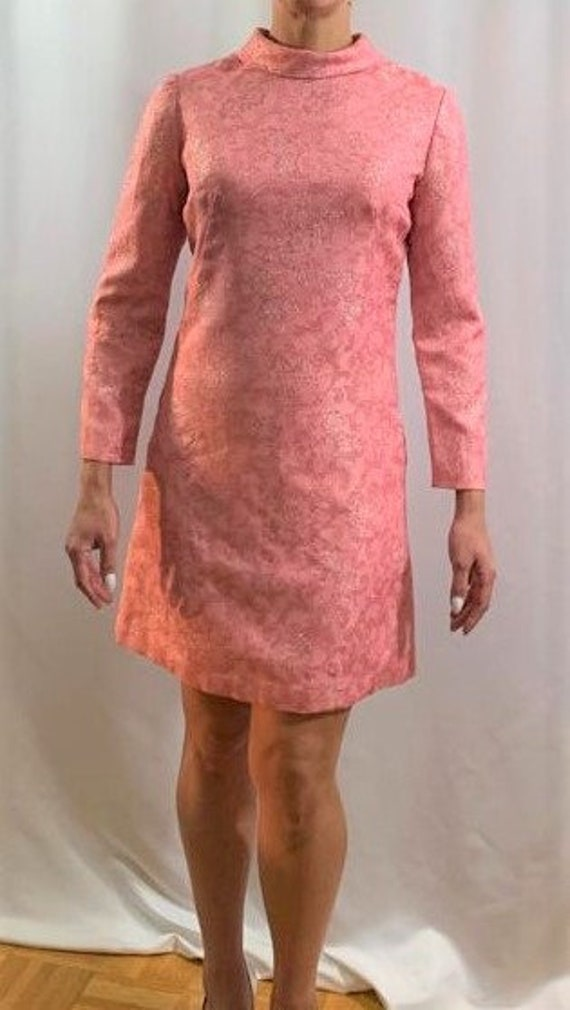 Mod Pink and Silver Lame' 1960's Dress