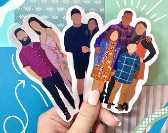 laptop decal Aesthetic Minimalist Christmas gift stocking stuffer family portraits Custom Portrait Stickers