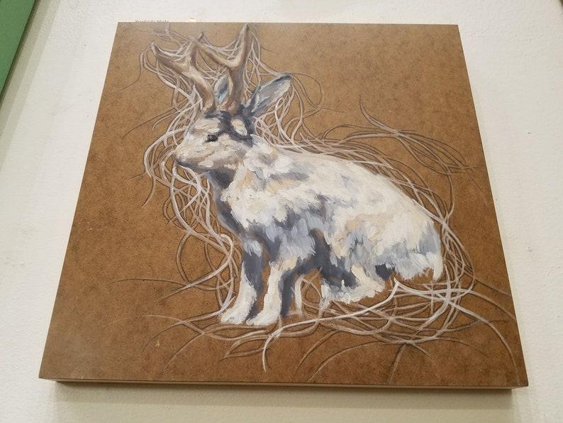 Gray Brown Nature Bunny Antlers White Oil on Wood Artist Emma Fineman Whimsical Rabbit Jackalope