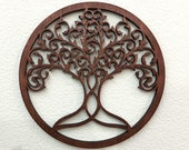 Tree of life wall art, Family tree wood wall hanging, Boho wall decor, Wiccan gift, Mother 39 s day gift