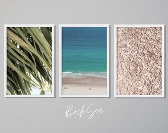 Tropical Print Set   3 Piece Wall Art   Palm Tree Art Print   Palm Leaf Downloadable   Ocean poster   Sea Theme Decor   Coastal Printable