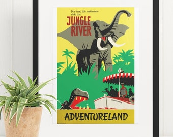 Available in 5 Sizes Vintage Disneyland Jungle Cruise Attraction Poster