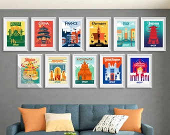Epcot Experience Prints - Full Set of 11 Epcot Country Pavilions - From Mexico to Canada! Disney Prints, Disney Posters, A6, A5, A4 & A3