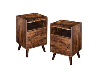 Nightstand Set of 2 End Table with Switchable Door, Side Table for Small Spaces, Stable Wooden Legs, Wood Look Accent Table, Rustic Brown