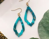 Turquoise dangle earrings, statement clay earrings, delicate earrings, bold polymer clay earrings