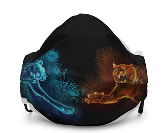 Reusable Fire & Ice Tigers Fabric Face Mask with Earloop Size Regulators and Pocket for Filter or Napkin