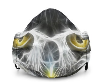 Reusable and Adjustable Nocturnal Owl Print Face Mask with Earloop Size Regulators and Pocket for Filter or Napkin