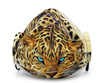 Premium Reusable Printed Leopard Face Mask with Nose Wire and Elastic Ear Loops