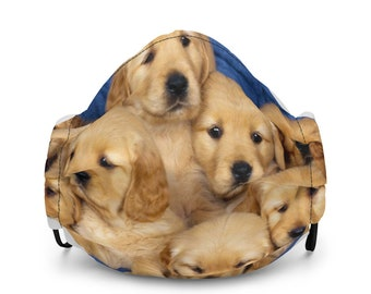 Adorable Golden Retriever Puppy Dogs Face Mask - Comfortable Fit