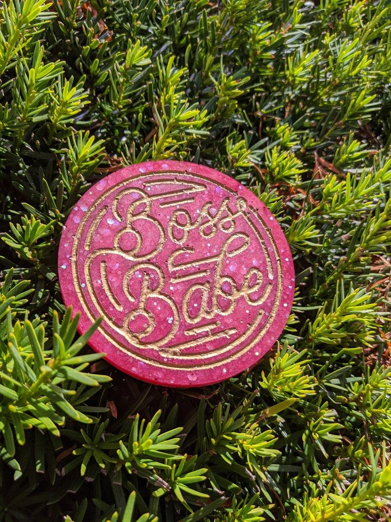 Burgundy and glitter boss babe resin coaster