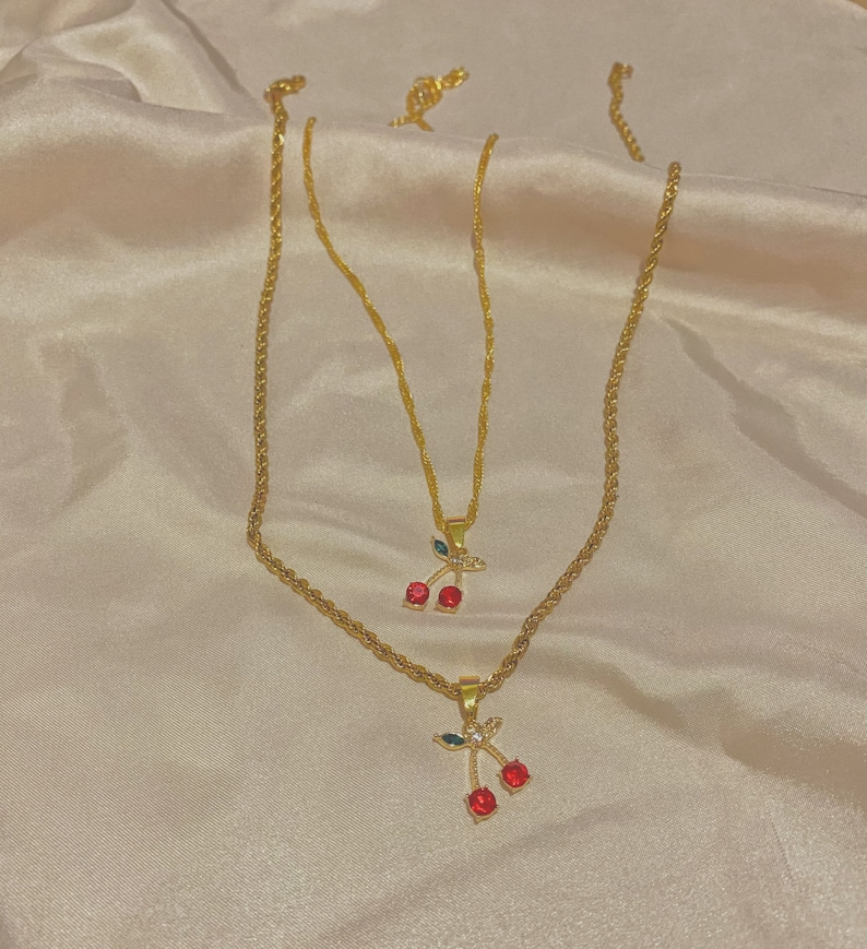 Gold Cherry Charm Necklace Pendant and Cherry Earring Huggies