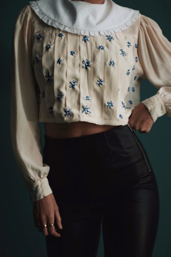 Vintage Cropped Silk Blouse with Oversized Peter P