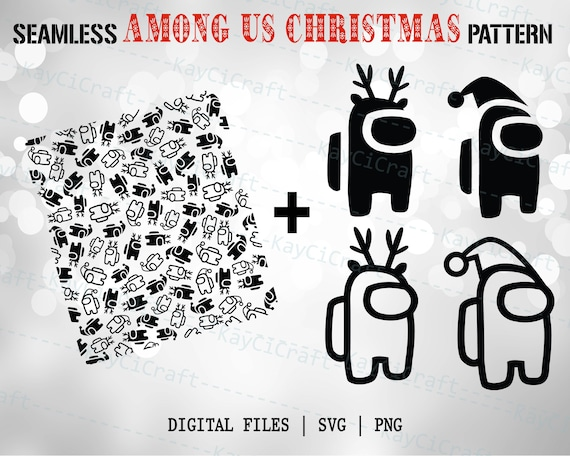 Seamless Among Us Christmas Pattern Among Us Svg Among Us Etsy