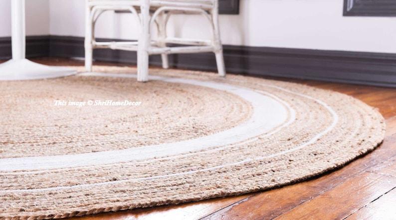 Indian Braided Rug Floor Rug Handmade Jute Rug Beautiful Floor Rug 6x6 Feet Natural Jute Round Rug Indian Handwoven Ribbed Solid Area Rugs