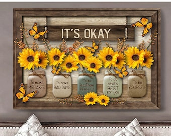 Butterfly & Sunflowers Canvas Poster, It's Okay To Make Mistakes Canvas, Vases Of Flowers And Butterflies, Vintage Wall Decor Poster Canvas