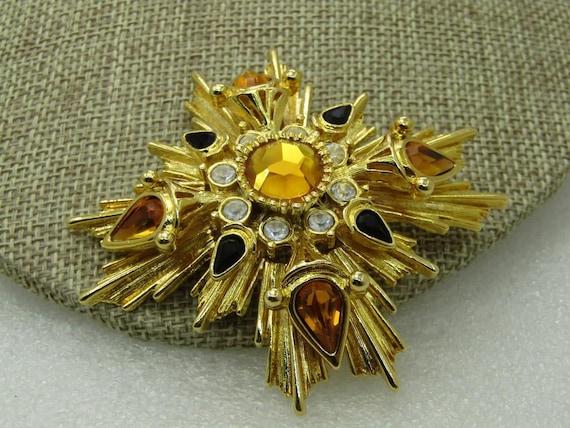 Vintage Joan Rivers Tiered Medieval Themed Brooch