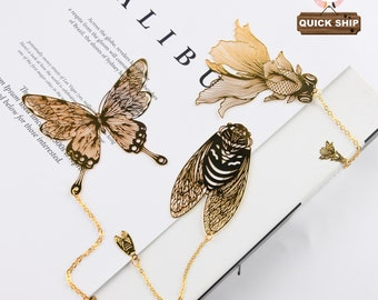Butterfly/Goldfish/Leaf Metal Bookmark, Insect Bookmark, Chain Bookmark, Read Marks,Bookmark For Teacher,Birthday Gift, Book Lovers Gift